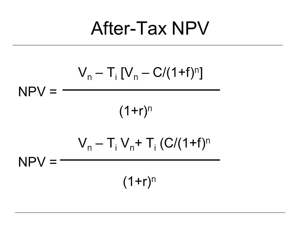 After-Tax NPV Vn – Ti [Vn – C/(1+f)n] NPV = (1+r)n
